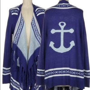 Royal Blue Anchor Sweater Cardigan